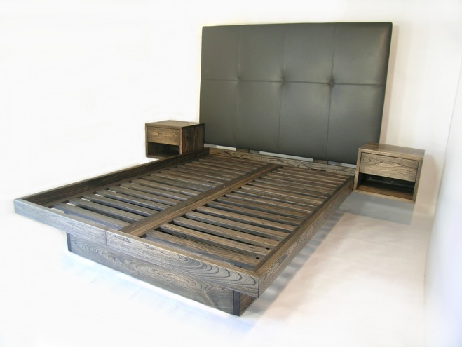 - Custom- Platform Bed With Drawers And Sidetables, Uphostered Headboard