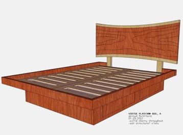custom- platform bed with live edge headboard + drawers
