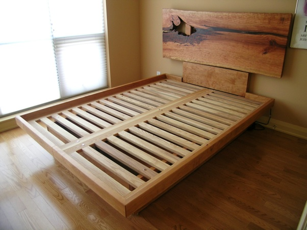 Custom Platform Bed With Live Edge Headboard Drawers