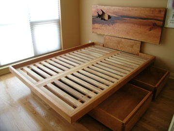 Custom Platform Bed With Lived Edge Headboard Drawers
